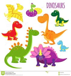vector-icons-baby-dinosaurs-cute-set-brightly-colored-vivid-cartoon-kids-showing-variety-species-clipart-white-43854880.jpg (1300×1390)