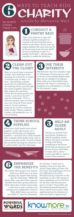 6 Ways to teach kids about #Charity - Great #parenting tips here from #DrRobyn and http://knowmore.tv/family-2/teach-kids-charity/