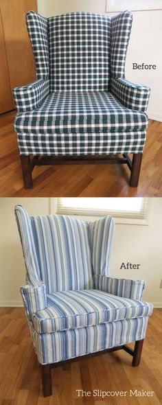 Custom slipcover in blue woven stripe canvas gives a style boost to this traditional wingback.