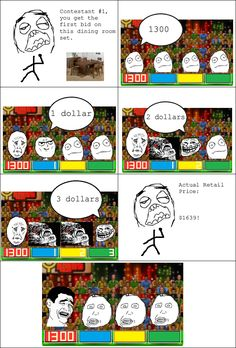 """Rage Comics: Being a contestant on """"The Price is Right"""""""