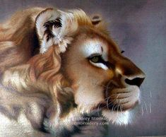 Lion, hand embroidered silk art, embroidery painting, Su Embroidery Studio, Suzhou China