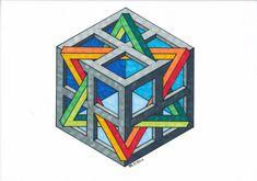 #impossible #penrose #triangle #mathart #regolo54 #escher #handmade #isometric #oscareutersvärd #hexagon
