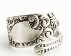 Antique sterling silver spoon handmade into a beautiful spoon ring! This Hamilton & Designer spoon has a wonderful Victorian Flower design, with a nice swirl pattern on the top, striking rococo swirls, and ornate tiny little flowers at the end of the pattern. Made by Hamilton & Designer between 1880 and 1900 in Philadelphia, Pennsylvania . This is not a reproduction but an original piece.  Made of and stamped Sterling Silver, I put a brushed finish on these rings to even out the surface for…