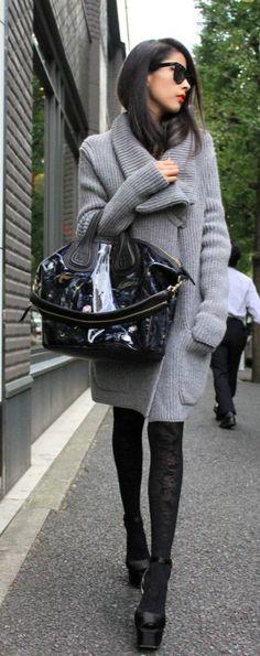 Easy oversized grey cardigan + chic black tights. Gorgeous ensemble.