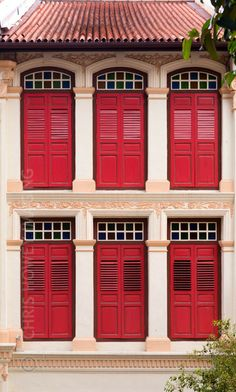Shophouse windows, singapore stock photo - image of historical Red Shutters, Cool Doors, Indochine, Windows And Doors, Red Doors, Old Buildings, Hostel, Architecture Design, Exterior