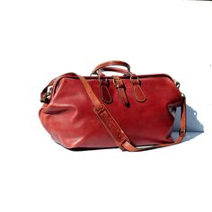 Heavy Dark Red Leather Metal Frame Travel Bag by TanakaVintage