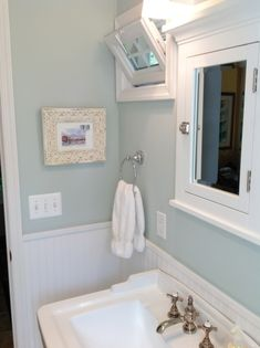 Lovely Blue And White Bathroom (Benjamin Moore Ice Cap)