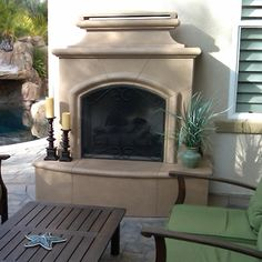11 Best Fireplaces for sale images Outdoor Gas Fireplace, Backyard Fireplace, Backyard Patio, Backyard Ideas, White Fireplace, Fireplace Mantel, Porch Ideas, Patio Ideas, Outdoor Ideas