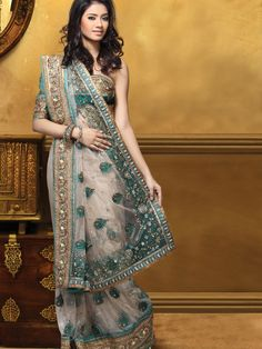 Fawn Net #Saree with Blouse