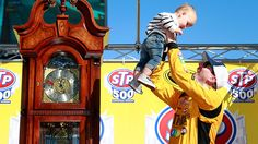 STP 500 April 3, 2016 Kyle Busch celebrates with his son Brexton in Victory Lane. (Photo: Getty Images)