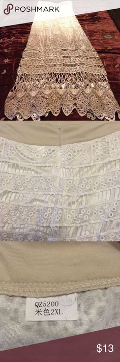 Women's crochet 2 tone long skirt Sz 2x Full length two toned/ombre color in cream/taupe-brown. Has a short thigh length underskirt. Zippered waist. It runs about a size smaller than 2x which is why I am selling it. It's brand-new and never been worn. Skirts Maxi