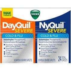 DayQuil and NyQuil Severe with Vicks VapoCOOL Cough, Cold & Flu Relief Caplet Convenience Pack 24 Count (Packaging May Vary) Dry Cough Causes, Severe Cough, Cough And Cold Medicine, Fever And Sore Throat, Cold And Flu Relief, Sinus Pressure, Sinus Congestion, Cold Symptoms, Runny Nose