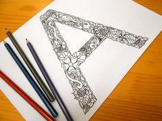 Alphabet Coloring Pages Download : Letter c floral colouring page alphabet coloring page adult