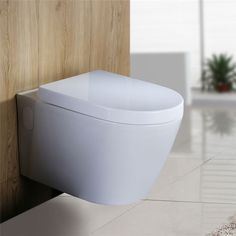 Toilette WC Wand-Hänge Keramik Tiefspüler  Spülrand Soft Close Absenlautomatik