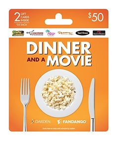 Darden is the world's largest full-service restaurant company, with over 1,500 restaurants in all 50 states.  Fandango is Your Ticket to the Movies.  Fandango gift cards make the perfect gift for every occasion.  Use to purchase tickets for theaters including Regal, AMC,  Cinemark, Carmike and many others (go to Fandango.com to find a theater near you)!  Fandango entertains, informs and guides film fans with must-see trailers and movie clips, exclusive and original content, insider news and…