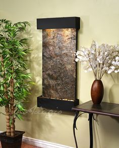 Adagio Fountains Whispering Creek Natural Stone/Metal Wall Fountain with Light Stone: Green Slate, Finish: Silver Metallic Indoor Wall Fountains, Indoor Fountain, Water Fountains, Feng Shui, Indoor Water Features, Tabletop Fountain, Copper Frame, Bronze Mirror, Water Walls