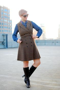 Chambray and tweed Teacher Style, Clothing Styles, Crossdressers, What I Wore, High Boots, Chambray, Tweed, Exotic, Kit