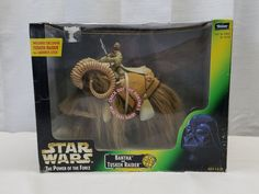 Vintage 1998 Star Wars POTF Bantha and Tusken Raider Action Figure Hair Box Toy #Kenner