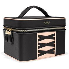 Victoria's Secret Ribbon Train Case ($40) ❤ liked on Polyvore featuring beauty products, beauty accessories, bags & cases, black and victoria's secret