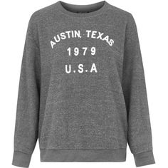 TOPSHOP Austin Texas Sweatshirt (53 CAD) ❤ liked on Polyvore featuring tops, hoodies, sweatshirts, sweaters, grey, sweat tops, gray sweatshirt, henley sweatshirt, sweat shirts and gray tank top