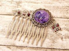 Haarkamm mit Blättern und Schmetterling lila von Schmucktruhe