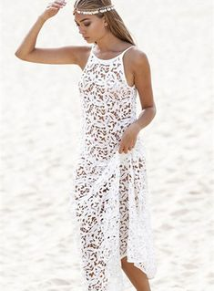 White Color Lace Beach Maxi Dress | GonChas