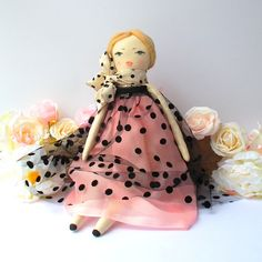 Fabric Doll, blonde rag doll in a pink & black tulle dress. Hand painted unique face. Beautiful gift for any girl, doll collectors etc.