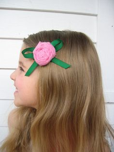 Pink Shabby Chic Recycled TShirt Hair Clip by WaterBabiesArts, $5.00