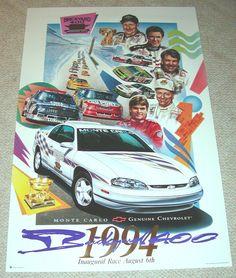 1994 Brickyard 400 Poster - Jeff Gordon, Dale Earnhardt, Waltrip, Jerrett NASCAR