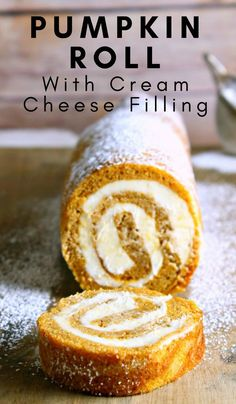 My pumpkin roll recipe is filled with cream cheese giving it an even richer taste! This is one of my favorite pumpkin recipes! My pumpkin roll recipe is filled with cream cheese giving it an even richer taste! This is one of my favorite pumpkin recipes! Fall Dessert Recipes, Köstliche Desserts, Holiday Recipes, Delicious Desserts, Yummy Food, Dinner Recipes, Cake Roll Recipes, Dessert Food, Desert Recipes