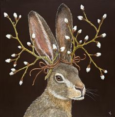 Vicki Sawyer original paintings at Lark & Key Gallery and Boutique, Charlotte NC. Whimsical art - birds and animals with 'hats' and 'masks', angel animals. Lapin Art, Rabbit Art, Bunny Rabbit, Bunny Art, Wow Art, Woodland Creatures, Whimsical Art, Animal Paintings, Pet Portraits