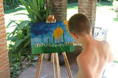 Ezra, painting, al fresco in Guatemala