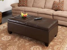 xl large oval storage ottoman coffee table faux leather | storage