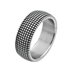 INOX Jewelry men's stainless steel black square groove pattern ring; $38 #INOXJewelry #stainlesssteel