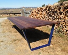 Table legs shelves and slab table on pinterest Salvaged wood san francisco