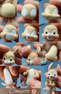 Polymer Clay Animals, Cute Polymer Clay, Polymer Clay Projects, Diy Clay, Clay Crafts For Kids, Easter Crafts, Diy And Crafts, Cake Topper Tutorial, Fondant Tutorial