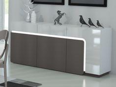Genial highboard weiß grau -