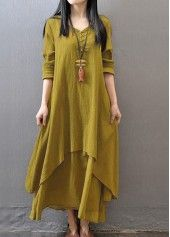Button Design Long Sleeve Straight Maxi Dress