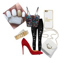 """""""Untitled #100"""" by purple4048 on Polyvore featuring Christian Louboutin, Moschino and BaubleBar"""