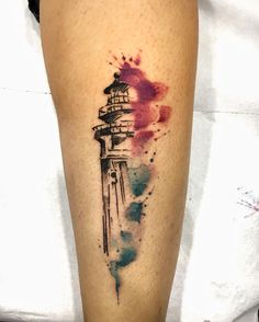 Sketch style watercolor lighthouse