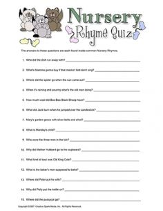 Nursery Rhyme Quiz Baby Shower Game #babyshower