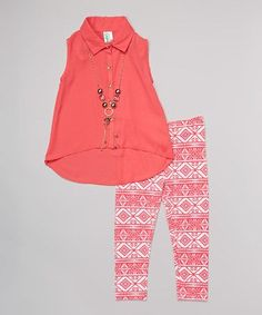 Another great find on #zulily! Coral Hi-Low Button-Up Tunic Set - Girls by Just Kids #zulilyfinds