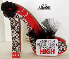 Muddy Paws & Inky Fingers: New Year's Advice -- for The Cutting Cafe - HIGH HEEL SHOE SHAPED CARD