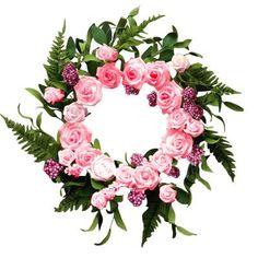 "Mills Floral Rose Bouquet 16"" Wreath Color: Pink"