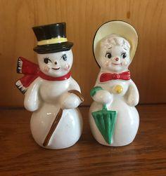 Vintage Christmas Japan Snowman Snow lady Snow people anthropomorphic salt pepper shakers
