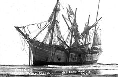 On a foggy October morning in 1906, the 287-ft steel-hulled, four-masted  barque Peter Iredale was running before a southwest wind, making for the mouth of the Columbia River, when a squall came out of the northwest, driving the ship onto the beach on Clatsop Spit. Called the most unexciting shipwreck in maritime history, the crew members were all uneventfully evacuated and at low tide they walked ashore. Considered a state treasure, the Peter Iredale remains Oregon's only visible shipwreck.