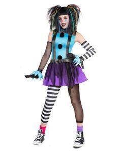 Tween Punk Clown Costume - Childs Medium by Spirit Halloween Tween Costumes, Clown Halloween Costumes, Cute Costumes, Halloween Cosplay, Spirit Halloween, Fall Halloween, Cosplay Costumes, Halloween Ideas, Costume Ideas