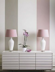 Pink and grey looking very pretty together in wide stripes - perfect for a pretty hallway or teenage girls bedroom . . . or even the parents room.