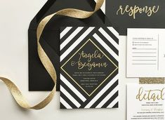 Black and gold wedding invitations, black and white stripe wedding, black and…
