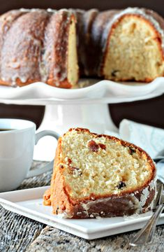Eggnog Pound cake with Rum Glaze - definitely better w/o the raisins
